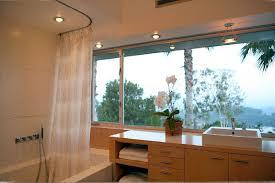 elegant round shower curtain rod in bathroom modern with curtain rod next to corner curtains alongside