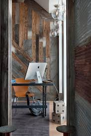 corrugated metal art home office contemporary with custom glass top desk barnwood