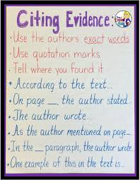 Text Based Evidence Anchor Chart Copy Of Citing Text Evidence Lessons Tes Teach