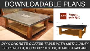 awesome diy concrete coffee table d i y plan and how to inlay a metal design top reddit