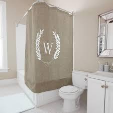 farmhouse rustic faux burlap laurels monogram shower curtain rustic curtains blue curtains rustic bathroom