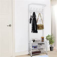 White Coat Rack With Storage New100 Hooks Metal Entryway Hall Tree Storage White Coat Rack 77