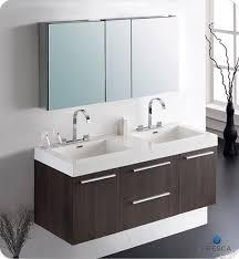 wall mounted double vanity.  Mounted Fresca Opulento Double 54Inch Modern WallMount Bathroom Vanity  Gray  Oak For Wall Mounted Double 3