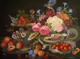 custom oil painting classical fruit flowers fl bluebirds sevres tureen silver s game plates by jeanne