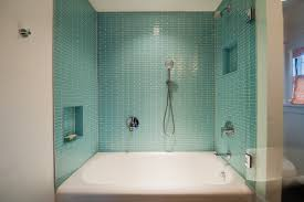 Modern Shower And Bathtub Combo With Blue Tile Backsplash (Image 15 of 19)