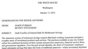 What Is An Internal Memo White House Memo Offers A Peek At Dol Fiduciary Strategy Thinkadvisor