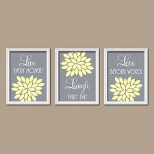 yellow gray custom live laugh love colors flower burst petals artwork set of 3 trio prints on yellow bathroom wall art with shop gray and yellow bathroom wall art on wanelo