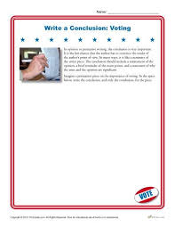 writing a conclusion about voting high school worksheet write a conclusion voting
