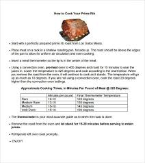 Prime Rib Roast Time Chart Prime Rib Roast Cooking Time Per Pound Chart