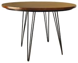 griffith 42 round bent iron leg dining table elm and black industrial dining tables by homesquare