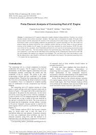 Design And Analysis Of Connecting Rod Project Report Pdf Finite Element Analysis Of Connecting Rod Of Ic Engine
