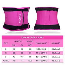 Yianna Waist Trainer Size Chart Yianna Waist Trainer Slimming Body Shaper Belt Sport Girdle Waist Trimmer Compression Belly Weight Loss