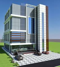 office building front. Contemporary Office Commercial Plaza Plan 3d Front Elevation In Porposal Poiner Society And Office Building U