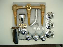 gerber 48 030 three valve tub and shower faucet on eight inch centers one piece escutcheons