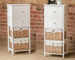 white storage unit wicker: tall white wooden wicker and drawer storage unit