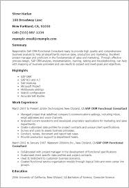 Resume Templates: Sap Crm Functional Consultant