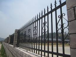 metal fence designs. Here\u0027s A Decorative Steel Fence With Stone Pillars. Metal Designs -