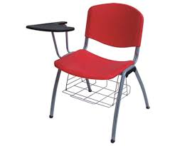 plastic stack chair with flip up tablet arm book basket metal school writing chair institutional