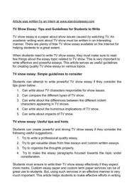 tv show essay tips and guidelines for students to write tv show essay tips and guidelines for students to write