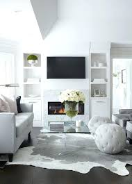 dove gray sofa with white and cowhide rug dark