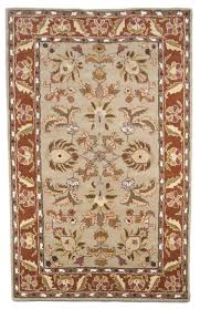 beige salmon green brown hand tufted wool area rug traditional persian heritage 5x8