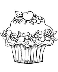 Coloring Page Cake Cupcake Fruit Kleurplaat Cricut Pinterest