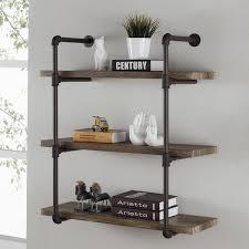 elegant danya b three tier industrial pipe wall shelf free bathroom pipe shelves remodel