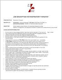 Respiratory Therapist Job Description Resume Fantastic Respiratory therapist Job Description Resume 60 Job 2