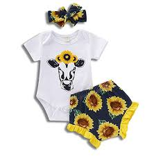 3Pcs <b>Newborn Infant Baby</b> Girl Summer Outfits Sunflower <b>Cow</b>