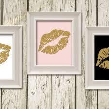kiss lips black white gold pink digital