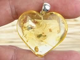 amber yellow heart pendant ag handle 9 97g