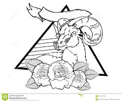 эскиз винтажной нео традиционной татуировки оленей черно белый