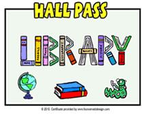 Printable School Library Pass Templates