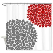 gray and red shower curtain. zen flowers gray red shower curtain and b