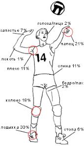 Травмы в волейболе Спортивная медицина Рис 1 Локализация травм у волейболистов