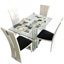 crystal deco 4 seater glass top dining table set