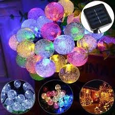 30 led solar string led lights crystal globe ball fairy outdoor garden party uk