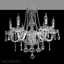 modern 6 lights clear glass crystal chandelier ceiling light candle pendant lamp