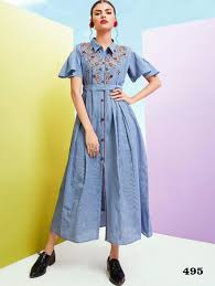 Light Cotton Maxi Dress 495 Light Blue Designer Khadi Cotton Maxi Dress Ethnic