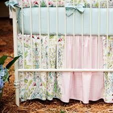 love birds crib skirt gathered patchwork