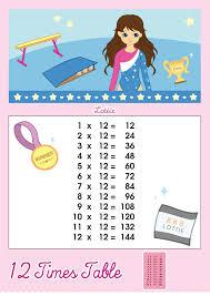 12 Times Table Multiplication Chart Lottie Dolls