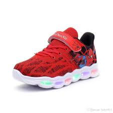 Spiderman Light Up Shoes Size 13 2020 Kids Spiderman Light Up Shoes Breathable Soft Bottom Sneakers Led Lights Lighting Sports Outdoors Shoes For Toddler Girls Boys Kids White Sports