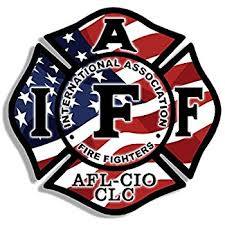 usa flag maltese shaped iaff afl cio sticker fire firefighter logo american