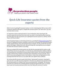 The Protection People Quick Life Insurance Quotes From The Experts Fascinating Life Insurance Quotes Compare The Market