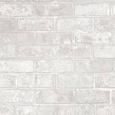 I Love Wallpaper Metallic Brick Wallpaper White (ILW980075)
