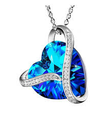 made with swarovski crystals heart of the ocean 925 sterling silver blue heart pendant necklace gift c917z42kiuo