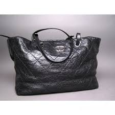 Black Quilted Glazed Leather On The Road Large Tote Bag & Chanel Black Quilted Glazed Leather On The Road Large Tote Bag Adamdwight.com