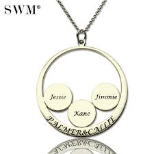 yes link chain swm women jewelry sterling silver 925 necklace custom family name necklaces disc circle pendant