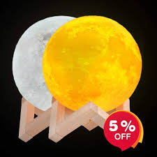 Nova Design Moon Light Ideacone Large Moon Light Lamp Luna Moon Lamp Modern Home 3d Printing Lamp Warm Yellow And Cool White Double Switch Night Light With Wooden Mount