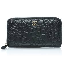 chanel zipper wallet. chanel lambskin camellia embossed large zip wallet black. pinch/zoom chanel zipper